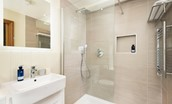 Old Granary House - en suite of bedroom two featuring a large walk-in shower with rainforest head and heated towel rail