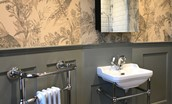Cairnbank House - teaser shot of the newly renovated bathroom hinting toward the decor of the main house