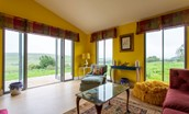 Lowtown Cottage - sun room with south facing views across vast open countryside