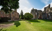 Cloister House - external with Melrose Abbey & grounds