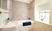 Old Granary House - bathroom featuring a bath with shower over and heated towel rail