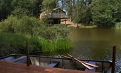 The Boat House - front aspect & lake with rowing boat