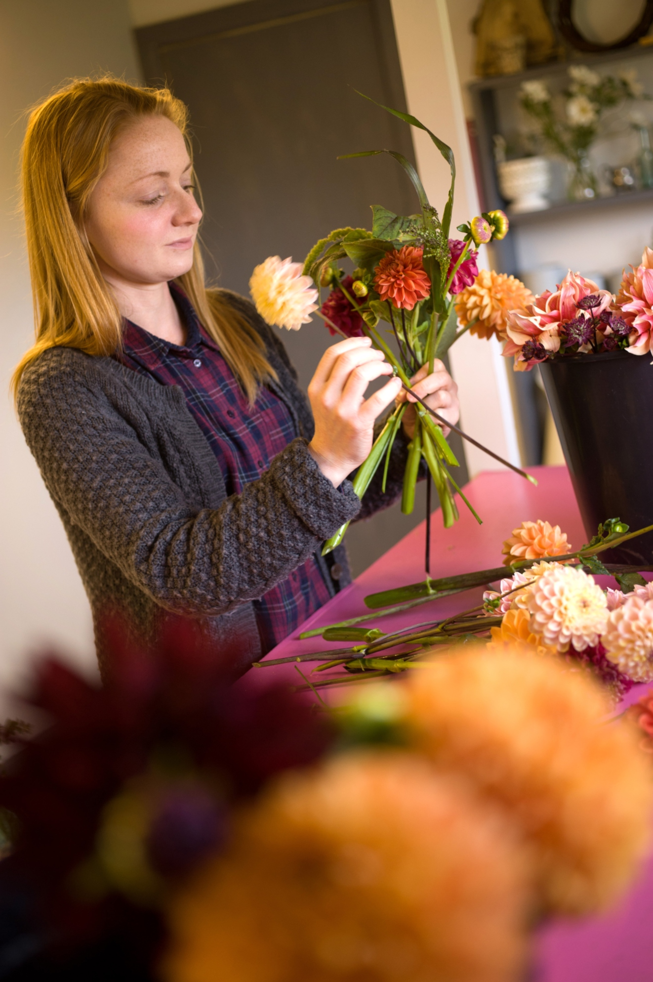 Ginger House Garden prepare for a flower arranging class in a Crabtree & Crabtree holiday home.