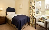 Old Granary House - bedroom four with a single bed and charming Juliet balcony