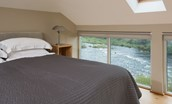 Heiton Mill House - bedroom four with river views