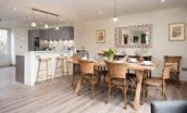 Old Granary House - dining area to seat eight with additional breakfast bar seating overlooking the kitchen